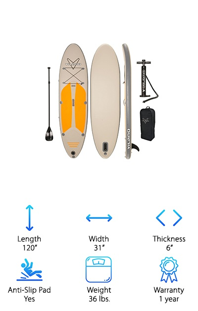 What a great looking touring paddle board. You can take the Vilano Navigator SUP almost everywhere, and you'll want to so you can show it off. The board is durable and rigid, having a similar feel to a hard board. It weighs 36 pounds and measures 120 inches by 31 inches by 6 inches. The board is made from PVC with drop stitch construction. The deck is grooved for traction and features D-rings and bungees for all of your stuff. It rolls down small for easy storage; it's only 12 inches by 36 inches when fully deflated. With your SUP, you'll get a cool pump with integrated gauge, 3-piece aluminum paddle, and a carrying bag. And the Vilano Navigator SUP comes with a one-year warranty, too. But we're pretty sure you won't need it!