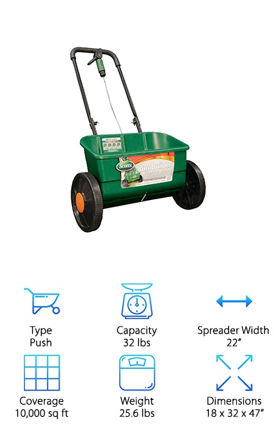 If you like to read positive lawn spreader reviews, then check out the reviews for the Scotts Turf Builder Drop Spreader! It's a small, push-style spreader that holds a lot of product. It has a small spread area of about 22 inches so you can target the small areas you wish to drop your fertilizer or other spreadable products. This machine comes fully assembled when you order it and is ready to use the moment it arrives, making it convenient and simple. It even comes pre-calibrated for optimum spreading. The frame is very sturdy and really durable, making it perfect for even rolling over rough terrain. IT's designed to last, and you can tell just by looking at all of the quality pieces it is made from. We love the Scotts Turf Builder Drop Spreader!