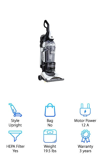 Next on our list for best commercial vacuum is the Eureka Professional Bagless Vacuum. This is a great choice if you're looking for something that's effective at deep cleaning. It has the suction power to really get to the deep, ground in dirt. The special allergen filter that Eureka uses in this one traps 99% of airborne pollutants so you and your customers can breathe easy. There's more. The professional grade attachments will help you get just about every surface clean. So, what's included? You get a upholstery and stair brush, crevice tool, dusting brush, and even a telescopic wand to get to those hard to reach places. And storage? They all fit onto the back of the vacuum. Plus, the brush roll can be easily turned off so you can do your hardwood floors, too.