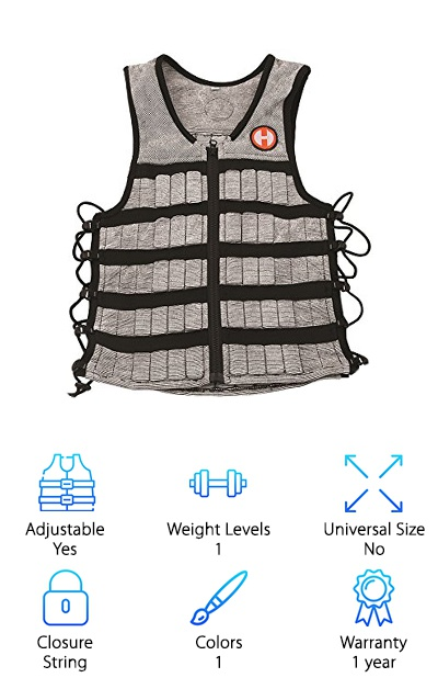 To wrap up our weighted vest reviews, we wanted to include a unique option. The Hyperwear Hyper Vest PRO is designed a bit differently than the rest because it uses string to adjust to your body. It also comes in a variety of sizes so that you can get the ultimate, snug fit. The sizes range from small to xx-large, and the vest is a unisex option that comes in black and silver. It is more expensive than most of the other options, but you will be getting an incredible, professional-grade vest when you buy this product. It comes with 10 pounds of high-density steel weights; however, you have the option and capacity to purchase more. We love the fabric because it is soft, stretchy, moisture wicking, odor resistant, and cool. You also get open sides for increased ventilation. Most importantly, we love that the profile of this vest is thin enough to allow you to maintain a full range of motion in your workout routine.