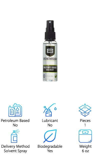 Looking for a super tough solvent that will work wonders on your guns, but won't hurt the environment? We combed through gun cleaner reviews to find green, non-toxic solutions for firearm owners that care about their impact on the environment and came across Breakthrough, a military-grade solvent that doesn't leave a footprint. Sold as a 6 oz. spray solvent, it's simple to use. Just spray and wipe! Good for the environment and safe for you, this powerhouse cleaner works to remove all fouling and residue for a pristine finish that will have your guns feeling like new. Since that's the whole point, why not choose an affordable, environmentally-friendly option that works just as well as other sprays? Non-toxic, non-staining, odorless, and non-flammable, the Breakthrough is pH neutral, meaning it's also safe for your firearm's wood, plastics, polymers, cerakote, and hydroprinting. And get this: it's made in the USA, so you'll also be buying local!