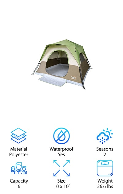 This is a great choice for anyone looking for the best 6 person instant tent out there. This tent is perfect for anyone who hates assembly. It requires no assembly and pops up in just a few minutes. This tent is designed with one large O-shaped door for easy entrance. It also comes with 3 zippered mesh windows that allow you to get the best ventilation. They can be covered for protection against the rain. This tent is made of polyester material and has a breathable design structure that is very suitable for use on the beach or in another light environment. It is not recommended for use in heavy rain so if you're looking for a rugged camping tent this may not be the one for you. This tent also comes with a one-year manufacturer's warranty that allows you to feel confident when buying this tent. This is a great choice for anyone looking for something simple to take the family camping with.