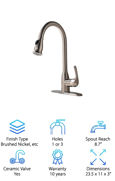 A crisp, clean looking addition to any kitchen, this pull down kitchen faucet from Hotis works with a range of decorating styles. It also comes in brushed nickel and chrome so you can match it to your other appliances. That's not all. It also adheres to strict water saving standards. The water is fed through the spout in a way that makes sure you get the same amount of pressure using less water. The solid brass construction resists corrosion and means you'll get long lasting, consistent performance from this faucet. The high spout and long pull out hose give you a lot of room for your dishes. It also comes with a base plate so you can easily install it in sinks with 1 or 3 holes.