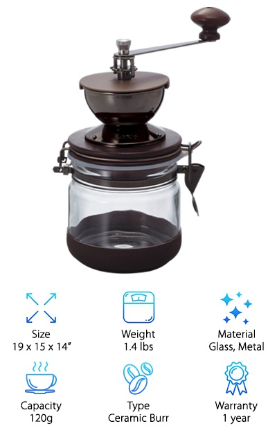 "This Hario manual coffee grinder is an ""XL"" version of our top pick with a 120g capacity. That's enough to brew about 11 cups of coffee! A metal coffee bean hopper sits on a mason jar-style glass container. A rubber cover on the bottom adds non-slip grip to the grinder, although it clashes with the otherwise sleek and shiny aesthetic. It takes some of the vintage style from the Foruchoice Vintage Coffee Grinder and puts in a more modern nostalgic package. The lid to the glass jar has a good seal to it so you can keep fresh coffee grounds a little fresher for longer. The coffee mill has a horizontal hand crank, and you can adjust the grind by twisting a nut inside of the grinding mechanism. If you want a solid but stylish hand coffee mill piece to add to your kitchen, and want to be able to grind ""in bulk"" by hand, this option from Hario is a great choice. Our only gripes with the look of the thing are the plastic hopper cap and rubber base, which interrupt the otherwise gorgeous material design."