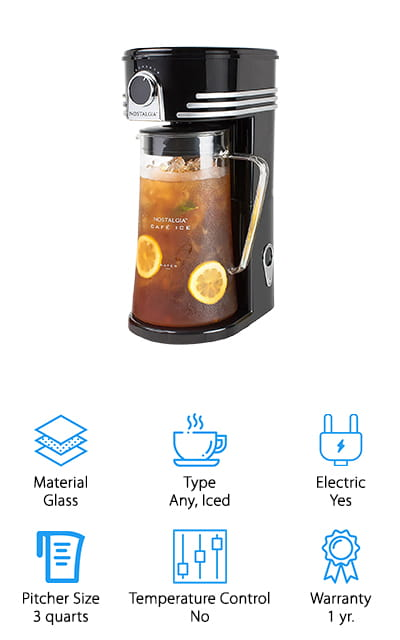 Our final option is a great choice for your favorite iced beverages, whether that's tea, coffee or anything else. It can be used with ground coffee, tea bags, and loose leaf tea and even provides the option for adding sweeteners, lemon, herbs and a whole lot more. It has a shower head design that completely saturates everything in the filter basket and provides you with 3 quarts of your favorite cold beverage. The large handle is easy to use and pour with and the three position lid makes sure that you can get just what you're looking for, just tea, tea with ice from the pitcher or nothing at all. It even has an auto shutoff feature when the brewing is complete and the cord can be stored away when not in use.