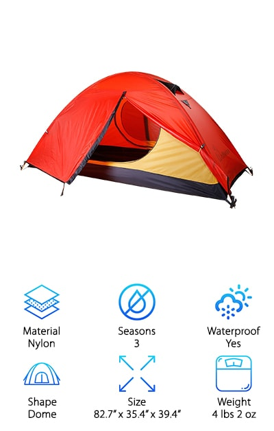 Our next pick is a seriously awesome tent. Not only does it feature all the necessary bells and whistles that any avid camper would desire, it also has a number of unique and useful elements sure to delight a rugged enthusiast and a novice alike! Made from nylon with a silicone waterproof coating that also reflects and absorbs UV light, the Wolfwise stands up to most weather conditions. Taped stitching keeps you warm and dry, while the tight mesh windows and roof keep the bugs out during warmer weather when you open the rainfly for a breeze. Anti-corrosive aluminum poles hold this durable tent up and provide a sturdy structure for you to relax in. All of these valuable features make the Wolfwise one of our top picks for the best single person tent, but it gets even better! Innovative fluorescent buckle straps on the zippered door make coming and going easy at night! And an interior mesh pocket and top hook for hanging a lantern keep this model super practical inside. Best of all, it's designed to be set up easily by one person!