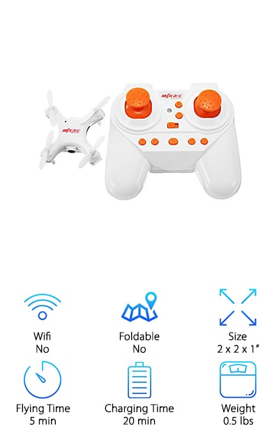 The REALACC X-Series mini drone has a 6-axis gyro that gives stable flight while keeping it really easy to control. There's more. It can go up, down, forward, backward, left, right, and even do rolling 360 degree turns and spins. It has a headless mode if you need some extra help getting it to go where you want it to. Oh, and a hovering mode plus one key return. Basically, this one is full of flying options. Plus, you can do it all while taking stunning pictures with the built-in camera. We really like the LED lights, too. It comes with a lot of goodies, too, like a rechargeable battery and cable. And get this: you even get a 4GB SD card and card reader.