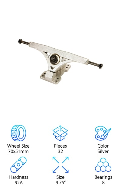 Another awesome choice for best longboard trucks and wheels is the Volador Longboard Trucks Combo. The trucks are made of tough, lightweight aluminum alloy and have a really cool matte finish. Oh, and get this: they're adjustable. You can use them at 45 or 50 degrees. You can tailor them to your style and stance so you'll have more control. The wheels are turquoise and have a pebbled finish to give them a little more traction. All of the hardware is made of carbon steel and made to stand the test of time. That's not all, the hardware has also been given a rust-free treatment so not only should they last a really long time, the finish will stay bright, too. One more thing, raiser pads are also included which let you raise the center of gravity a bit.