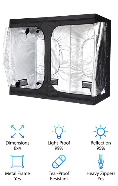 "This iPower 4x8 grow tent is also available in 2.3x2.3, 3x1, 3x3, 4x2.3, 4x4, and 5x5 sizes. The 4x8 growing tent has a 6.6-foot height, giving you some clearance for hanging grow lamps and fans as needed. It can handle 90 pounds hanging from its ceiling beams - not as heavy as some other tent options, but enough for most basic operations that require a couple of lamps and maybe a fan or two. The exterior is made of 5mm three-ply Vinyl with a Mylar interior over a metal frame with push-lock connecting corners. Large zippers and double-stitching are used on the two large doors and two smaller ""window"" entries to give you wide access to your tent interior. It has a basic setup of two large ports and two small ports with drawstring closures, and four vents that can be covered with thick Velcro covers. This is a basic tent despite its size so it may not be the best choice for indoor plant growers with more extensive and complex setups - stick to the simple stuff with the iPower tent. If you're a beginner, we recommend grabbing a smaller, cheaper tent to start with and building up from there."