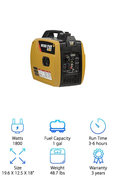 Completing our list of generator for RV reviews, is the CAT, a heavy-duty powerhouse equipped with convenient durability and mobility. The Cat delivers 1800 watts of long-lasting power for your electronics. It's ideal for tools, making it the perfect companion at construction sites. OSHA compliant for professional work-site use, the CAT also performs well in extreme temperatures, so you don't have to worry about storing or using it when the weather acts up. A single start and stop switch and integrated choke make it simple to operate, even for a novice user. And it features the manufacturer's custom, drip-free oil funnel that makes maintenance quick and eliminates messy situations. Two USB connections, a DC output, and two 120V outlets make this model super versatile and perfect for almost all of your electronic and backup power needs. Best of all, it comes with a three year warranty. Packed with all the best features to keep your space running smoothly, the CAT generator is a trustworthy option that won't disappoint.