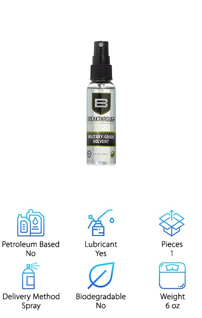 This solvent is a great choice for people who want something that they can be confident will not harm their gun. This formula is non-toxic, non-staining, odorless, and non-flammable. This makes for a solvent that you can feel confident using. Not to mention, the fact that it's odorless will give you a more pleasant experience cleaning your gun. It removes all fouling and leaves absolutely no residue behind, so you can be sure your gun is the cleanest it can be. This solvent is also purely pH neutral, which means it's totally safe for every part of your gun, not just the shaft. It comes in multiple sizes, from two ounces to a gallon, so you can try it out first and then get a lot of it if you love the way it cleans your gun. This solvent is also made in the USA so you know it's a high quality product.