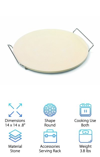 This earthenware pizza stone from Jamie Oliver keeps it simple with an included pizza stone, serving rack, and recipe booklet. The clay pizza stone needs to be tempered in the oven before use, and then you can use it on the grill or in the oven for tasty pizza with a crispy crust! The clay material absorbs moisture to help you avoid a sad, soggy base. The stone measures about 14'' across and easily goes from oven to table thanks to the included metal serving rack. You can also use it to bake bread and biscuits. If you love all things Jamie Oliver or just want an inexpensive traditional pizza stone, this product is a great option! Keep in mind that this stone is hand wash only and that oil and other ingredients can stain it. Whether you make pizza fresh or from frozen, you can get better results with this clay pizza stone!