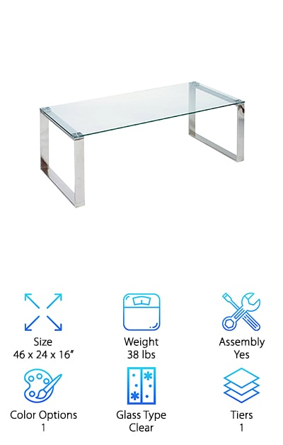 The Cortesi Contemporary Coffee Table boasts an incredibly sleek, modern design and plenty of smooth, functional space. The top is made of thick, clear tempered glass that can hold quite a bit of weight without causing any concern. The chrome-finished legs are sturdy stainless steel. To top it off, this high-quality table has a fantastic minimalist look. The glass and chrome design is simple and brilliant. Unlike traditional wood coffee tables, this glass-topped version visually opens up the space it inhabits, giving your area a spacious, airy aura. This makes it an excellent choice for smaller rooms or apartments where you need a large table but want to avoid a crowded feel. A great mix of durable, distinctive, practical and easy on the eyes, this dependable piece of furniture will enhance any room in which it is placed. If you dig an ultra-contemporary style, this stunning table is an easy, affordable option you will definitely want to check out.