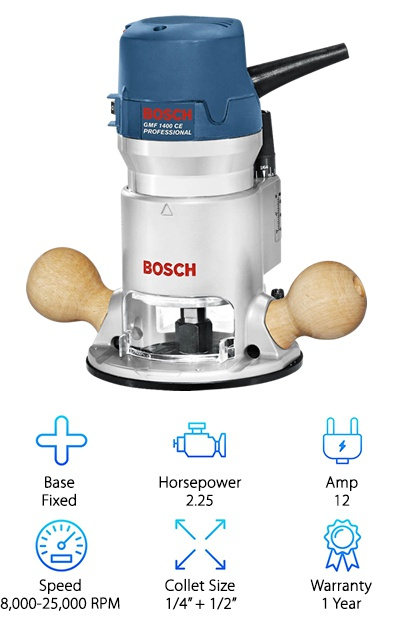 "If you are looking for a top-of-the-line, fixed-base wood router, you will definitely want to check out the Bosch 1617EVS. It is very versatile, much like our top pick, but it does not come with a plunging base. If you are planning on doing some general routing, this tool will be perfect for you. Like our top pick, it features one of the most powerful motors that you will find on a router. It is a 12-Amp, 2.25-HP, and it runs at variable speeds between 8,000 and 25,000 RPM. The router has a soft start, so it will gradually build up to the speed you choose on the variable-speed dial. It also has a great feature that will monitor the speed, so it can consistently maintain the desired RPM no matter how tough the work gets. This router will also give you a lot of control over the routing depth. You can easily adjust the depth down to 1/64"", so you get an accurate measurement. The router comes with 1/4"" and 1/2"" collets to give you, even more, versatility, and they can be easily changed because they are self-releasing. Lastly, you'll be able to have your router repaired for up to a year with the one-year limited warranty."