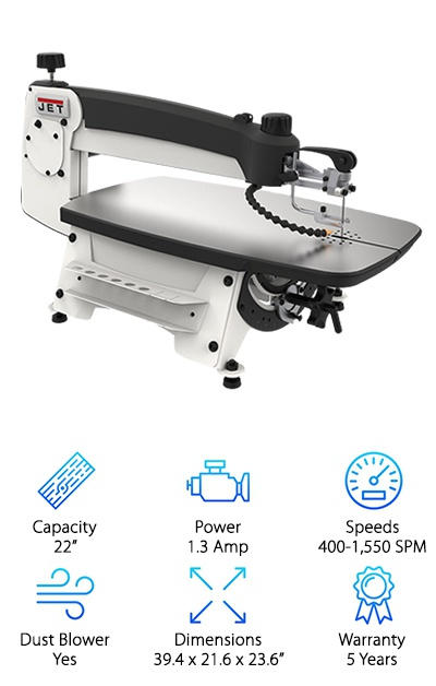 The Jet 727200B JWSS-22B is yet another scroll saw that is built for professionals. While it is significantly more expensive than the options we have found for beginners, it is an investment worth making. When you are using your scroll saw to do heavy work frequently, you will want to ensure sure that it is built to last. Cheaper scroll saws might not be able to hold up to prolonged, heavy use, but this scroll saw can handle it with ease. It can also handle large pieces of wood because it has a higher capacity. This saw will give professionals much more versatility with one machine. Besides being a durable and versatile tool, you will get several convenient features that are built with the same quality. In one quick and easy step, you can clamp and tension the blade on this scroll saw because the upper arm is spring loaded. The arm can also be tilted so you can work on projects that require you to cut at various angles. In fact, you can tilt the arm up to 40 degrees to the left and 45 degrees to the right. You can also remove the lower blade and store it in the slot built into the saw.