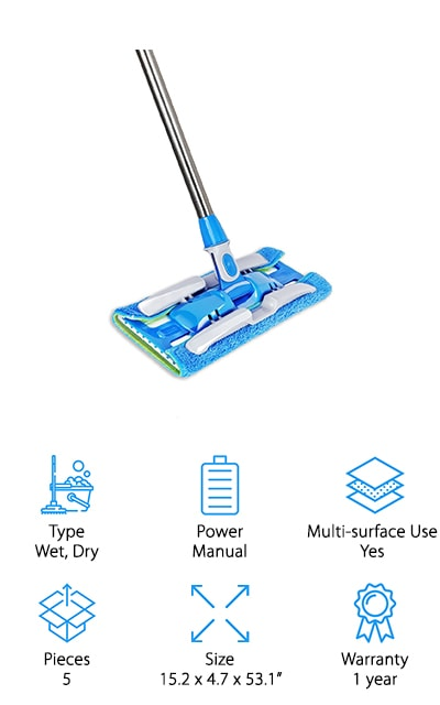 Next up is the Happinex Flat Mop complete cleaning kit. It includes the mop itself with a stainless-steel handle, 2 reversible mop clothes, and 2 standard mop pads. All of the pads are machine washable and can be reused again and again which is great for the environment and your budget. You can use this as a dust mop for quick cleaning when you need to pick up dust, pet hair, and dirt from your floor. When it's time to clean tougher messes, you can use this mop with your favorite tile or hardwood floor cleaner, too. Just spray and wet mop as you go without having to drag a bucket around with you. The mop head rotates 360 degrees so it's easy to get under and around furniture and into tight corners.
