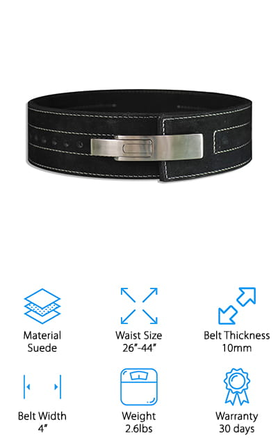 The HHR Powerlifting Belt is loaded with features! It comes in three colors, from simple black to red and genuine white leather. There isn't another white belt on this list, so that's pretty unique and amazing on its own. It comes in small, medium, and large. Instead of a prong-buckle closure, it has a lever so you can get the right fit each time you put the belt on, and adjust it quickly enough to move from one activity to the next. The width of the belt makes it much more supportive than a 3-inch powerlifting belt. This gives you more surface area to push your muscles against, which in turns protects your back. The bigger the better! This belt is 10mm thick, which won't impede your movement too much and still give you plenty of support. You can also use this belt in competition because it conforms to the legal standards. We love this belt!