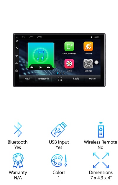 This is a great choice for anyone looking for the best touchscreen radio. IT comes complete with AM/FM capabilities for listening to any radio station you'd like while you're cruising along. This is based on the Android system and comes complete with WiFI, which allows you to connect to the internet even when you're on the go. It has a touch screen control that allows you to control all of your media easily and quickly. It has 16G of flash memory, allowing it to retrieve and process information quickly. It has two rear USB inputs. It also has 2 rear RCA and video inputs, as well as 2 rear audio outputs. It also comes with a rear camera input, allowing you to attach a rear camera to your screen for an easier time backing out of your driveway or that really tight parking spot. It also comes with a 4*45W power amplifier.