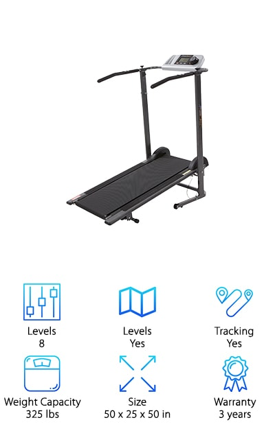 Make your fitness goals a reality with our next pick, the Fitness Reality treadmill. You'll see results when you incorporate this premium treadmill into your daily routine. It's well-known that walking is one of the healthiest and most effective ways to build stamina, shed pounds, and tone muscles. Now you have the ideal way to walk, jog, and run from the comfort of your own personal space-- even if that space is small! Rated for users up to 325 pounds, the Fitness Reality treadmill will help you get in shape faster than ever. Unlike electric treadmills, manual treadmills derive their power from the user's motion, so you'll burn a ton of calories and reach your goal weight sooner rather than later. Equipped with heart pulse pads that allow you to monitor your heart rate and an LCD screen display that tracks your progress. When you want the best manual treadmill for walking, and you aren't willing to compromise on features, then Fitness Reality is for you.