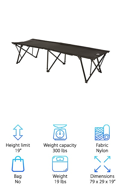 The Kamp-Rite Kwik Cot is incredibly compact and easy to use. Its powder-coated steel frame helps to support up to 300 pounds of weight. The 1000D nylon fabric is heavy-duty, hard to rip, comfortable, and waterproof. The Kamp-Rite Kwik Cot folds up tight, wrapping itself closed with its own built-in straps. The cot folds out to 79 inches long by 29 inches wide by 19 inches tall. Folded, it is 39 by 8 by 7 and weighs in at 19 pounds. It opens up in seconds and even closes down just as easily. But the coolest part of this cot has to be the little extra feature thrown in. This cot has a small, padded headrest, making it the only cot on this list with a built in pillow. It also features a clever mesh storage pocket to some things off of the ground and securely next to you.