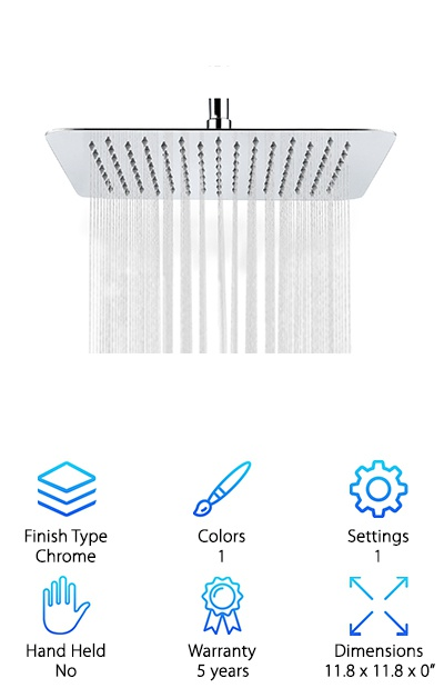 If you're looking for something that looks like more than your average shower head, the SR SUN RISE Shower Head will blow you away. Get this - it's a wide, flat square. There are 64 silicone gel nozzles that are easy to clean and prevent buildup. Air injection technology gives consistent power that makes you feel like you're showering in a rainstorm, even with low water pressure. Want to know the best part? Not only does it work well. It will truly be the focal point of your bathroom. It literally looks like it's raining in your shower. It will last a long time, too, because the finish is extremely durable. Why? It's made of 10 layers of chrome plating. Oh, and Installation is easy, no tools required.