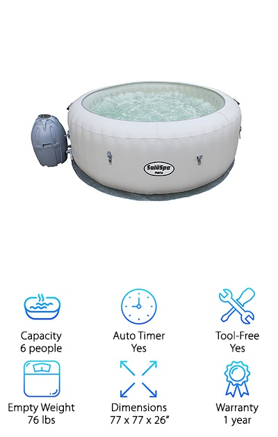 As you have probably noticed by now, we really like the quality and variety of SaluSpa hot tubs available, so it only makes sense that we include another one of our favorites, the SaluSpa Paris AirJet. It comes with the same standard features you would find in a hot tub at this price point including the control panel and the easy setup spa pump. However, it comes with an awesome LED light show capability. In fact, you will have seven different colors to choose from so that you can make your evenings with friends and family a little more entertaining or more soothing and relaxing. The LED lights are all around the hot tub, and you can control them with a remote. Lastly, we were thrilled to find out that the floor of this hot tub also has the cushioned air pad to minimize heat loss and increase comfort. If you are looking for a unique spa experience at home, then this product is a great choice for you.