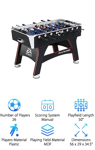 EA is a well-known name in sports video games and sports casting, but did you know they also make foosball tables? The EA Sports Foosball Table is a great table made by a great company. It weighs in at about 92 pounds and is a full-sized, regulation size table. The rods are chrome-plated and feature 26, hand-painted players. The scoring system in a simple, bead system that's easy to use. The legs are thick with crossbeams to help improve stability. They also have five-inch levelers on the bottom to help keep the playing field level. The field is blue MDF, the cabinet is black with white accents, and the legs feature red stripes that make this table look unique and beautiful. This table is a really good looking, and it would light up almost any game room or basement!