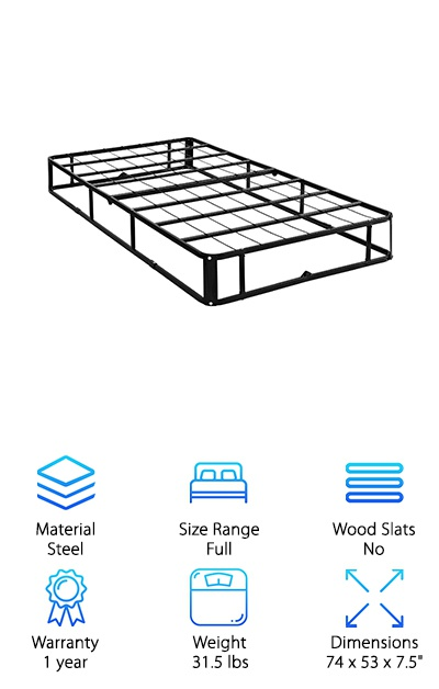 Even though this box spring from Mainstay is made from durable, heavy-gauge steel, it's still easy to transport and store. Why? Because you can easily fold it in half. It comes pre-assembled, all you have to do it unfold it and it's ready to go. It's naturally resistant to bed bugs and even comes with a coverlet to protect your mattress. How does it work? The fabric that sits on the top of this box spring is non-slip. This stops your mattress from moving around or sliding! For college students who change apartments or dorms every year, this box spring will make moving a breeze. Get this - it's light enough that one person can usually move it without help! Despite that, this full sized one can hold up to 1200 lbs.