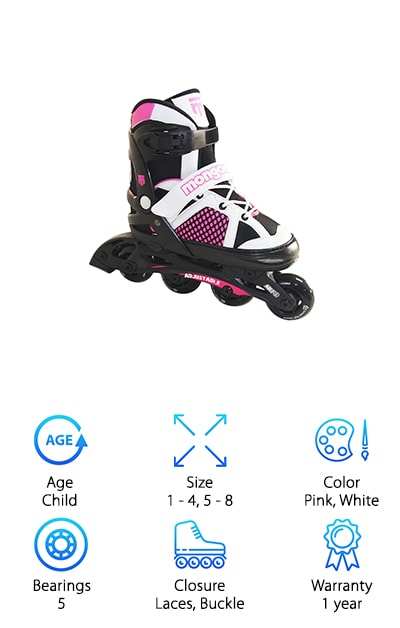 These inline skates from Mongoose are great for kids of all ages. They're adjustable, too, so they'll grow up with your kids. The small is for shoe sizes 1 to 4 and large covers sizes 5 to 8. Because they grow with your child over 4 difference show sized, you won't have to buy a new pair every summer. There are adjustable laces over the top of the foot to help anchor your child's foot in the skate. Not only that but there's also adjustable power straps and locking buckles to get a more customized all-around fit. These skates give a smooth ride which will make your child feel more comfortable and confident. The skates are black with pink and white accents, perfect for the little girl who won't let anything stop her.