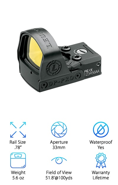 For anyone looking for something made in the USA, this Leupold reflex dot sight is a great choice. This is a good reflex sight for anyone looking for something made of aluminum and constructed by one of the best brands in scopes. This scope has a diamond coat scratch resistant aspheric lens for brightness. This also provides it with superior resolution. This sight includes motion sensor technologies. This allows it to quickly help you aim at moving targets. This scope is extremely durable and ultralight. The aluminum housing helps it to maintain its light weight without sacrificing on durability. This small scope can be used for handguns, rifles, and shotguns. It has a wide field of view allowing you to see everything in your path. It also is waterproof up to 33 ft so you won't have to worry about getting rained out. This is a great choice for hunters looking for a nice, lightweight sight.