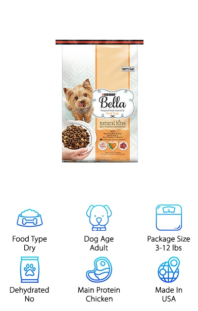 Purina dog food has always been a top source for dog food with a great value, and the Purina Bella Natural Bites are designed to pamper your Shih Tzu with deliciousness! Proteins and fats are sourced from chicken and beef, with sweet potatoes and spinach mixed in as well. The kibble features a mix of crunchy bits and tender meaty chunks, creating an interesting texture that will keep your dog's tail wagging and their nose in their food bowl! Vitamins, minerals, and antioxidants support your dog's immune system, joints, and more. It's also available in a turkey and chicken flavor. The 12-pound bag option should last a while, too. If your Shih Tzu is sensitive to grains or soy, this may not be the best option since it contains both. But for most small breed dogs, this dry dog food provides a great taste with great nutritional value!