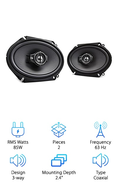"When you want a speaker system that really brings out the mids and highs for your favorite guitar riff or drumline, a three-way car speaker system is a must. These speakers from Kenwood's Performance Series are some of the best 6x8"" speakers for rocking out. Their coaxial design makes them easy to install, with a woofer, tweeter, and super tweeter all built in together in each speaker. Their power handling peaks at 360W, so it can handle just about anything you throw at it! The frequency response ranges from 63 to 20,000 Hz with an Acoustic Sound Harmonizer to improve the response in the 3000 to 4000 Hz range for a smooth transition between tweeter and super tweeter. The focus on mids and higher frequencies makes these speakers a good option for rock 'n roll and acoustic sound. Plus, they're durable and responsive with a rubber surround and water-resistant paper woofer cone."