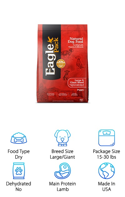 Eagle Pack Natural Dog Food for large breed puppies is rich in natural ingredients and made in the USA, too! It uses a larger kibble size than typical puppy foods and is designed to meet the growth needs of large and giant breed puppies. The main protein source is lamb meal, which is easy to digest and gentle on your puppy's stomach, with chicken meal providing additional protein. There are no animal by-products in Eagle Pack foods, so you know your pup is getting high-quality protein! Rather than sourcing carbohydrates from corn or wheat, this dry kibble uses barley and rice as healthy sources of complex carbohydrates and fiber. Probiotic supplements provide digestive support, while omega fatty acids and DHA support healthy growth. This large breed puppy food is a high-quality choice that can help give your pup the solid nutritional foundation they need to grow big and strong!