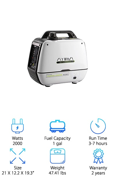 You want the power? You got it! The Atima portable generator is built tough and strong with a genuine Yamaha engine. Experience high performance power and low maintenance for years of continual heavy use. Keep your RV, television, kitchen appliances, air conditioner, garage door, microwave, refrigerator and more running smoothly with this super strong model. It's also safe for use with sensitive electronics, making it an all-encompassing source of power. Strong enough to withstand a heavy load and cover an extended variety of electronics, we think the Atima is a great choice if you're searching for the best generator for 50 amp RV needs. The heavy-duty industrial design includes an aluminum alloy body and ergonomic details. The best part is the Atima is easy to operate with a simple, self-explanatory control panel. Once it's running, virtually anyone will be able how to figure out how to keep it going. Power up your next excursion or project with this elite generator!