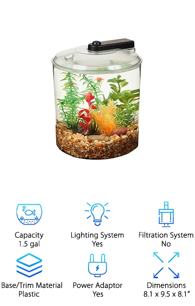 Want an aquarium that is backed by a two-year warranty? The Api Betta Kit is a great, small tank for your betta or other fish. It's awesome for a small space or kids room. The tank is made from a durable plastic that is seamless, giving you a 360-degree view of your fish. This tank is brightly lit; the lighting system is made from seven LED lights that really brighten up your tank. The lights can shine in a variety of different colors too! They run off of AA batteries or a small power adaptor. And it even includes some stress coat and betta food to help get you started with your new pet! So if you are looking for a great deal on a small, round betta home, the Api Betta Kit is a great place to start looking!