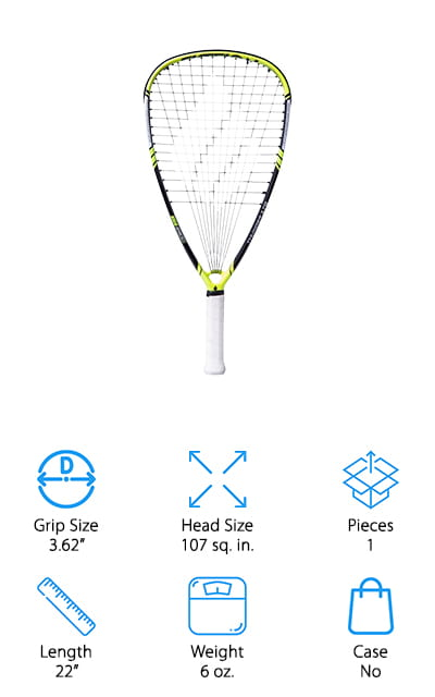 This is our final option but it's definitely going to be an excellent choice. The color variety is definitely interesting and there are 2 different weight options that you can choose from to get just what you need for your next game. It's the best racquetball racquet for intermediate players as the racquet itself will provide you with plenty of power and capabilities. It's not intended to be used for more professional experiences and events, but it's definitely great for you to enjoy your time. Made with 100% graphite it's strong and durable while still being very lightweight at the same time. This racquet is made in a teardrop shape and provides you with a power ring for added strength. You will be able to get everything you need to get going.