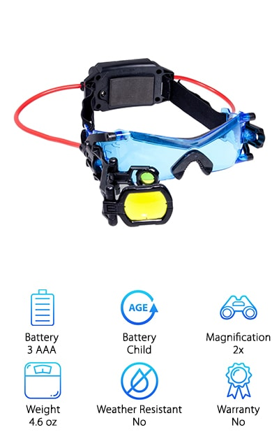 The Spin Master night vision goggles are sure to make your favorite spy the envy of every kid at school! Equipped with bright LED lights and blue-tinted lenses to enhance night vision, even grown-ups feel awesome wearing a pair of Spin Master goggles. A yellow foldout scope and 2X magnifying lens help secret agents spot targets from a distance at night and bring to mind some of your favorite video game characters. Best of all, the hands-free design allows kids to play and move around. The headset is comfortable, with a smooth-edge nosepiece and adjustable strap. Indeed, the Spin Master can't be beat when it comes to authentic and comfortable night surveillance wear for kids. When you're looking for an awesome gift at an unbeatable price, Spin Master goggles are sure to be a hit for all. Keep your favorite secret agent smiling and exploring in style.