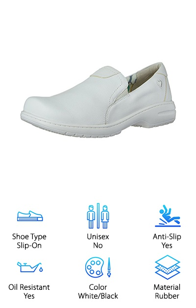 Let the Nurse Mates shoe be your best mate during a long day in the office or the hospital. This slip-on shoe is another extremely popular brand for working professionals. The protective design and very simple, classic style are both big winners for our reviewers. You can choose between black and white, and both colors come with anti-slip tread. The rubber structure is also highly oil-resistant and waterproof, so keeping these shoes clean will be a breeze. Stain resistance is a big bonus in the nursing world! Your coworkers will be asking where you got such fancy footwear. And check this out: As with many slip-ons made for workers, there is a small 1-inch heel. This adds to the arch support within the shoe. Healthcare facilities often have very hard flooring. It's done that way so that it's easy to clean, but those floors are not easy on your feet. Give yourself a break with shoes made for the long haul.