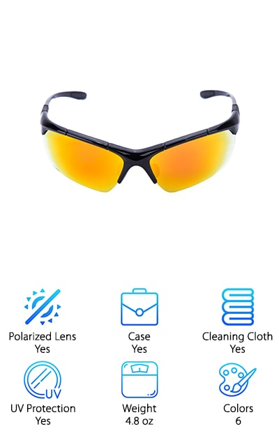 These unique looking sunglasses are perfect for anyone who wants something really special in their glasses. They come in six colors and a few different styles. The colors available are coffee/silver, deep blue, red, yellow, silver/green, and white. All this style doesn't sacrifice functionality though. The lenses are integrated polarized lenses that can effectively prevent the dizziness that sometimes occurs in TAC lenses.  These lenses are highly resistant to impact cracks and are most suitable for wearing and high impact sports activities. The unique mirror lens makes you stand out from the crowd with its bright colors and mirrored surface.The nose pad makes it incredibly comfortable to wear all day long. The design will also help you maintain fog-free vision all day.  These sunglasses offer full UV protection that's integrated right into the lenses. This prevents the film from peeling off after lots of wear. They even come with a lifetime warranty to protect them.