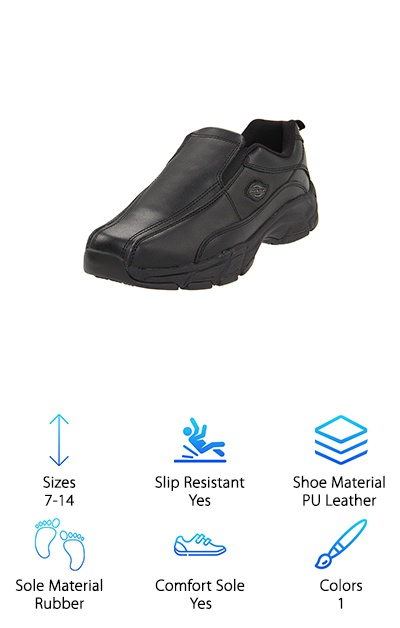 Need a work shoe that looks professional, but is secretly super comfortable? The Dickies Slip-Resistant Work Shoe might be for you! This black leather work shoe has a rubber sole with slip-resisting channels for stability. These shoes slip on easily with the elastic around the tongue and vamp. The padded tongue and collar help prevent chafing, and inside is a memory foam insole with a lightweight, supportive EVA foam midsole. These interior features provide cushion and support to your feet to help prevent aches and fatigue. The lining is moisture-wicking to keep your feet cool, too. If you're looking for a supportive work shoe that's business on the outside and full of comfort on the inside, look no further! If you're running deliveries or work long hours on your feet, you may want to look for one of the even tougher shoes on our list like some options from KEEN.