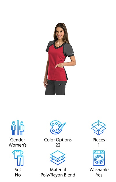 "The final scrubs top we looked at for our scrubs buying guide is this top from Grey's Anatomy. This is a tight fitted top that is flexible and uses an ArcDry fabric blend that wicks sweat to keep you cool and dry throughout your shift. The top has a raglan pattern, meaning the chest and sleeves are different colors, and they have a thick border fabric throughout. This gives the top a great modern, sporty look that's perfect for any medical office setting. We think these would be perfect for people working in a sports therapy position or with a sports team! You can also buy separate pants to go with your top that have a more athletic fit to round out your outfit! The tops run pretty small, so size up if you have a larger chest or shoulders for sure. If you want to add color to your scrubs, we think these add variety without looking too ""girly."""