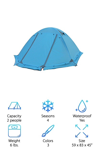 Our second four-season tent! If you need a little extra space, the Flytop Camping Tent is a great any weather, two-person tent. It only weighs six pounds, which is great for a two-person space. This trekking tent comes in three colors: blue, green, and orange. It also comes in a slightly cheaper, three-season model. But we were really impressed with the solid construction and the look of the four-season tents. It comes with a snow skirt and a unique ventilation system that allows for airflow without giving up too much thermal protection. It packs down to 6 by 18 by 18 inches, making it small for your pack. And, you'll love to know that the manufacturer states the Flytop is windproof, waterproof, snowproof, and anti-sediment. You'll be ready for almost anything in this tent!