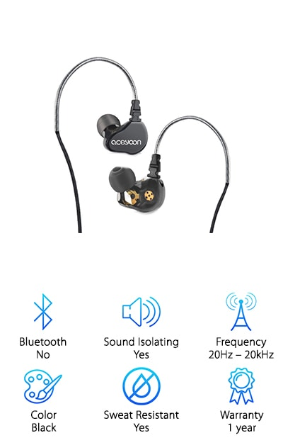 The Aceyoon In-Ear Monitor uses a dual moving, double speaker design that gives you a pure and high quality sounds you can really enjoy. It does this with injection molded earphones that provide a low level of resonance and also decrease overall interference, which makes for a more natural sound. They even have a soft steel ear hook that ensures they stay firmly attached but don't hurt your ear at the same time, keeping the pressure off and still isolating external noise. The cable is made with Kevlar, which means it's super durable even compared to other monitors. You can connect to your favorite devices using a 3.5 mm audio jack and you get three different pairs of ear tips to get just the right fit in your ears. Get high fidelity and four total speakers to get the level of sound that you really want with a strong frequency range to separate each aspect of the music.