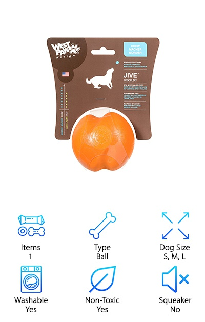 The West Paw Jive Dog Ball comes in three size options for dogs of all breeds. It has a fun, unpredictable bounce that your pup can enjoy alone or as part of a game of fetch. It's ultra-durable and ultra-safe: made with tough rubber, but it's BPA-free, Pthalate-free, non-toxic, and FDA-compliant. You can also send it into the manufacturer's recycling program when your dog has totally destroyed it! It fits in most standard-size ball throwers, so it's easier to tire out your pup. Besides being a responsible and high-quality manufacturer making products in the USA, West Paw also guarantees the Jive ball against damage. If it gets particularly dirty or slobbery, you can send the Jive ball through the dishwasher and it'll come out good as new! It bounces and floats to ensure hours of fun playtime. Bonus: tiring out your dog can help decrease destructive chewing behavior!