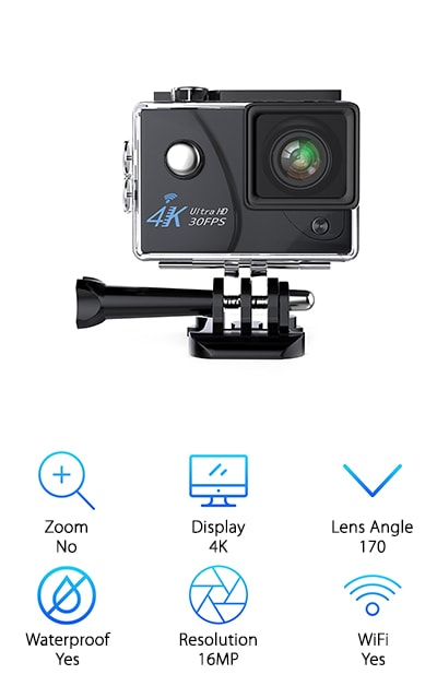 Are you a daredevil or do you love one? Because the VMTOP Action Camera is an ideal choice if you need the best camcorder for recording sports and you want it to come with accessories that allow even the most extreme sportsman or woman to take full control and capture every shot. Record and snap pictures in high definition with a wide-angle lens that gives you the full scope of the environment. The details will be so vivid, you'll feel like you're reliving the action when you watch later. And don't let a little rain get you down. VMTOP is waterproof, so you never need to worry about ruining it outside, rain or shine. This is particularly good news for anyone who wants to record surfing, skiing, fishing, boarding, or swimming. Shoot up to 90 minutes of action at a time on land or in the water and get the same great results every time. Complete with tons of accessories to help you attach this camera to helmets, bicycles, cars, and other objects, it's easily mountable, so you can experience the thrill of your favorite activities and catch them in real time.