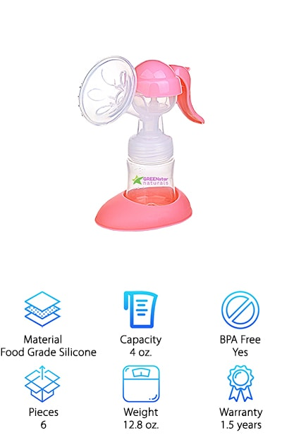 If you're looking for an alternative to the Philips Avent pump, we think the Greenstar pump is a great option! It has a similar design to the Philips, which uses a hand pump to create suction. This is not a hands-free model like many of the earlier ones in our breast pump review. By using a hand pump, you can create greater suction – more like using an electric pump. It also comes with a bottle you can pump directly into, and an adapter to take you from pumping to feeding right away. No messy storage or pouring! We also love that it comes with a cover and a stand for safekeeping while pumping. If you do need to store milk for later, you can store it in the bottle, or you can use one of the 10 BPA-free storage bags that come with the kit. This is a great option if you need to pump quickly and store for later.