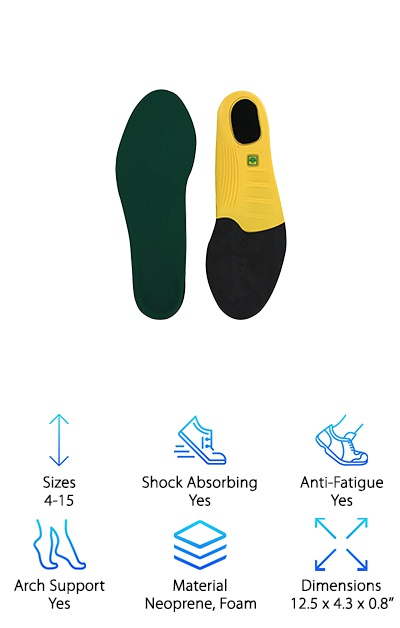 "The Spenco Polysorb Heavy Duty insoles fit men's shoe sizes 4-15 and women's 5-16. Made with neoprene and polysorb polyurethane foam, the insoles are designed to prevent blisters and odor with stretch fabric, moisture-wicking, and an antimicrobial application. The rubbery base cushions your feet and adds durability to the insole. This insole has a relatively low arch with padding focused on the heel and forefoot. If you're on your feet all day, these are the areas that need a little extra TLC. A 5/32'' layer of Spencore material through the entire insole provides shock absorption with every step, especially around the heel. The odor-preventing design is a great feature for work boot insoles, since work boots aren't always the most breathable of footwear. If you need a work boot insole that fits ""extreme"" sizes and prefer one that doesn't have a super-high arch, the Spenco Polysorb Heavy Duty are up to the task!"
