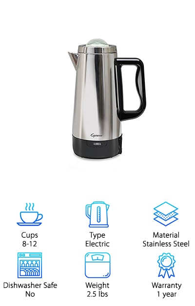 Last but not least, one of the best percolator coffee maker on our list. This top rated percolator is the perfect choice for anyone who is looking for something easy to use. This is a contemporary design based off of the classic percolator. It includes a stainless steel pot and lid so you can always be confident in this percolators durability. It comes with a view-through glass lid insert which makes it easy for anyone to see what is going on inside this percolator. It can brew 4 to 12 cups in less than a minute per cup. This makes it the perfect choice for anyone looking for a quick and easy option. It comes with an automatic keep warm function as well. It also comes with a detachable cord for anyone who wants to be able to clean their percolator easily and quickly. If you're using this to bring coffee to people this is a useful tool as well. The base of this percolator insulates heat which makes it safe for tables and counters.