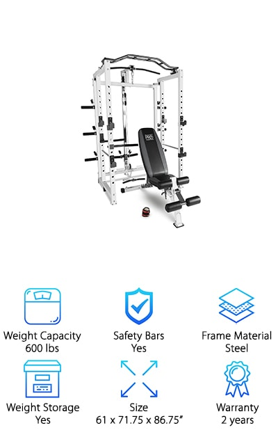 If you liked the last Marcy system we looked at, but you could do with fewer bells and whistles, this is one of the best power racks for home gym use. It still has some great features, including an upper and lower pulley system, a specialized pull-up bar, and of course a bench. You can transition quickly between exercises and enjoy a full upper and lower body workout. The heavy-duty steel construction keeps you safe and steady. You can push hard with this rack. A sleek and sturdy design gives your home gym a new level of class and helps you feel powerful as you tone your body. Like the last cage and bench combo we looked at, this one's weight capacity is a little complicated. The bench handles 600 lbs. The cage can only withstand 300 lbs. It's still perfectly suited to all your regular gym exercises, however.