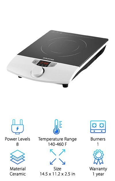 Do it all with the Gourmia GIC-100! You can boil, simmer, saute, steam, and sear! You can even deep-fry, slow-cook, barbecue, and grill, thanks to this versatile induction cooktop. With eight power levels and a wide temperature range (eight different temps) that allow you to enjoy precise cooking, your dinner options are endless. A convenient temperature knob dial and a digital display allow you to easily control cooking settings and a timer capable of reaching 180 minutes keeps track of the time for you. Equipped with an overheat sensor and in-line fuse, this energy-efficient model uses up to ninety percent less energy than a traditional stovetop! Compatible with induction-ready cookware, it will not turn on unless a pot or pan is already placed on the burner. When cooking is over, simply wipe clean. The ceramic, non-coil top makes it easy to clean up spills because they won't stick to the cool surface or harden inside crevices. Practical and convenient, the Gourmia is perfect for making your favorite dishes.